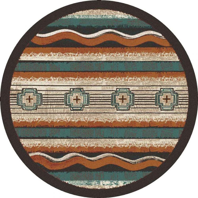 Teal, rust, and beige Southwest themed round area rug
