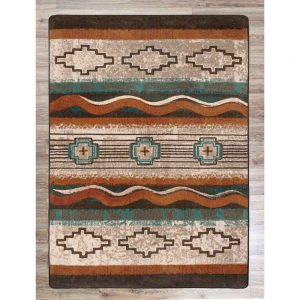 Teal and rust traditional Southwest pattern rug