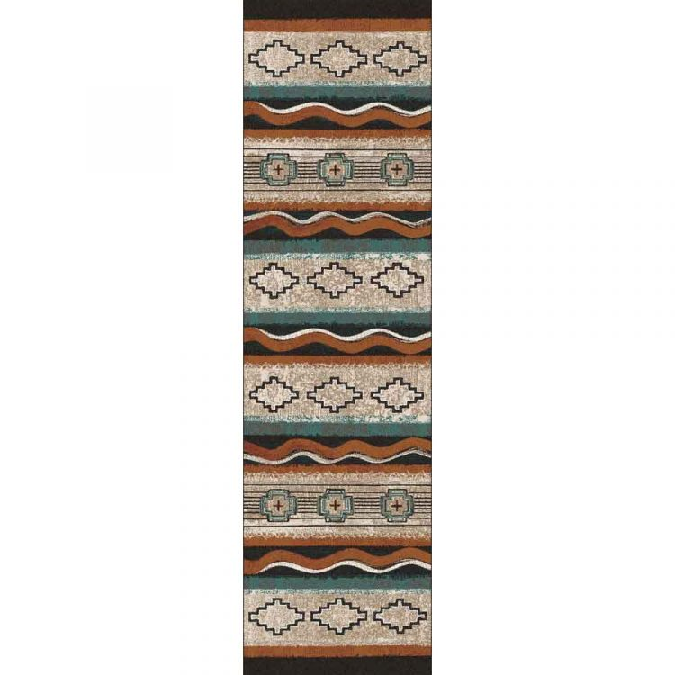 Runner rug with Southwestern designs and a turquoise. rust and tan background