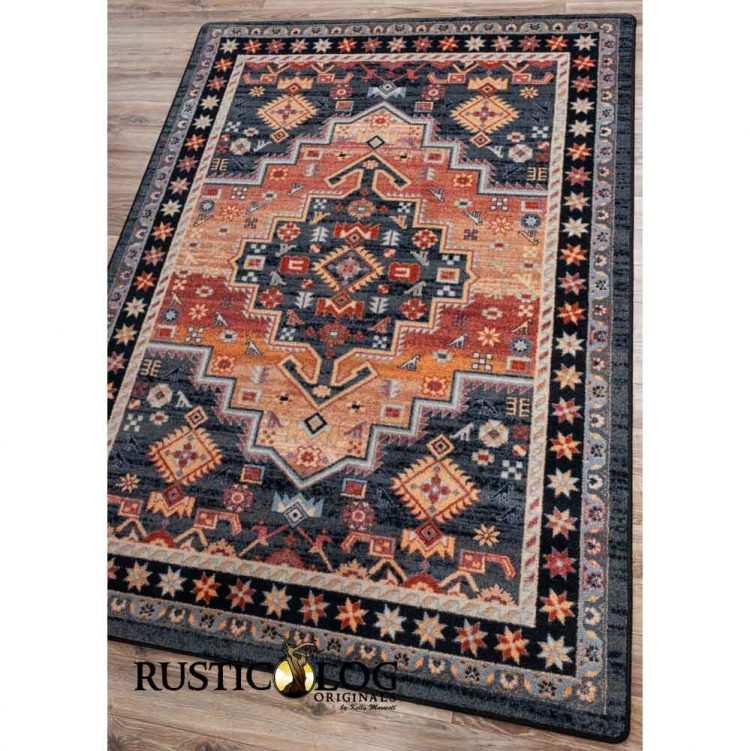 Rug with Persian-inspired prints in shades of orange and blue