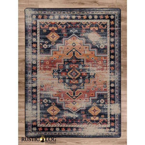 Persian style area rug in orange and blue with distressed pattern