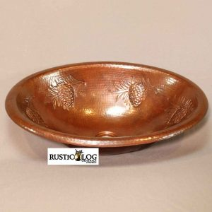 Oval Copper Sink With Pine Cone detail