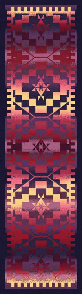 Southwestern runner rug with black patterns on a purple and yellow graduated background