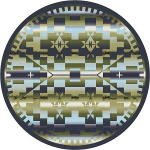 Round rug design with Southwest pattern in blue, green, and purple