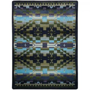 Multi shades of green and blue southwest patter area rug