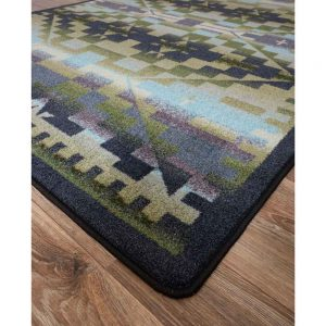 Detail of print, texture, and color of Rainbow Blanket rug in blue