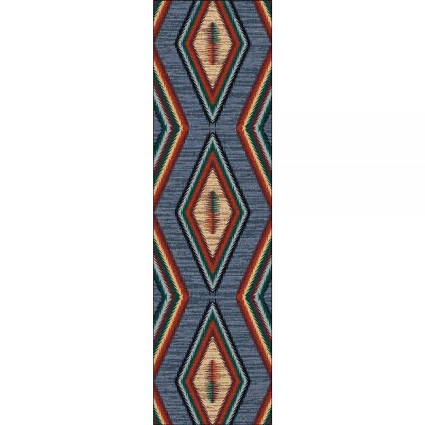 Runner rug with geometric pattern in blue, red and green