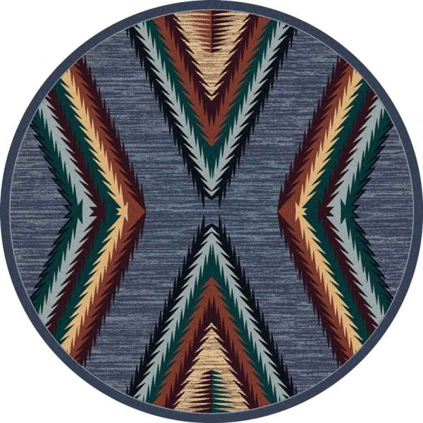 Round area rug with x pattern in blue , red, and green