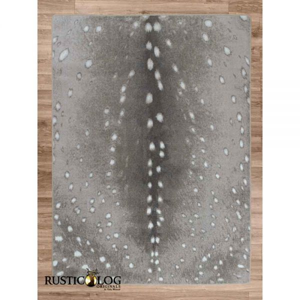 Gray area rug with axis deer print