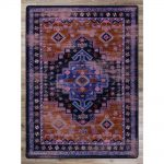 Distressed Purple Persian Print Area Rug