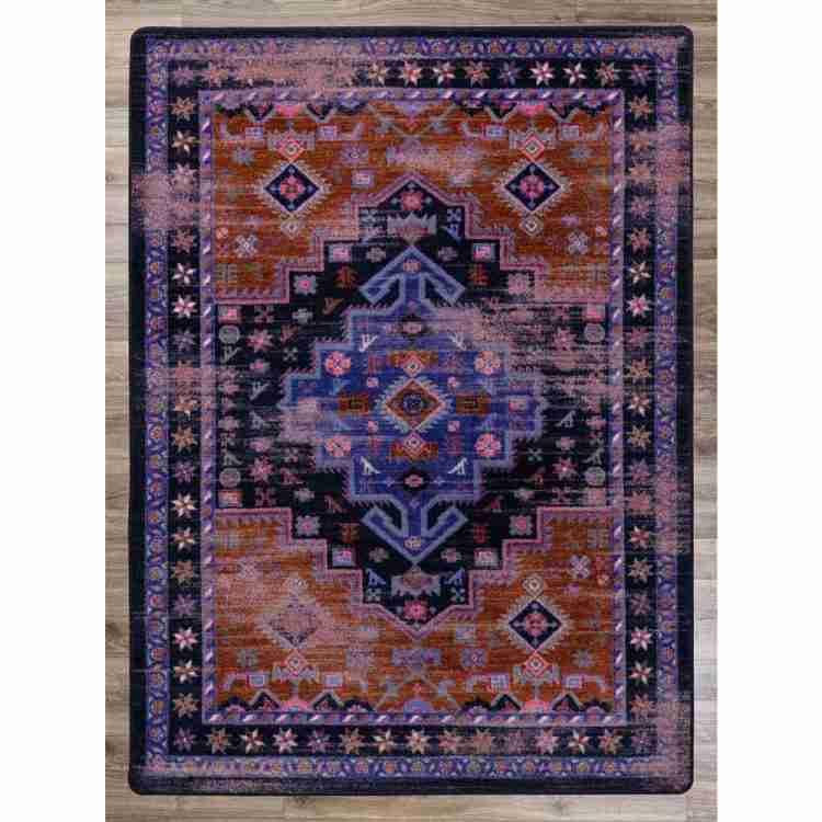 Distressed Purple Persian Print Area Rug