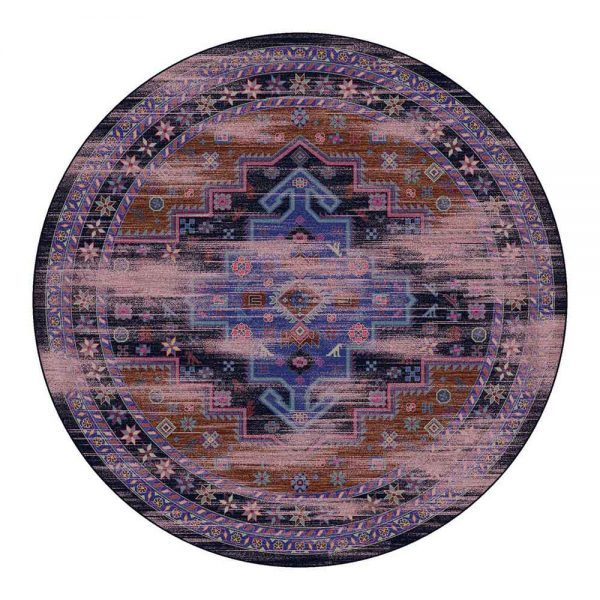 Persian 8 ft round rug in shades of purple