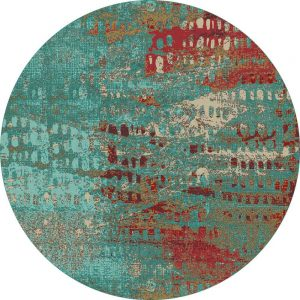 Round area rug with abstract turquoise and red print