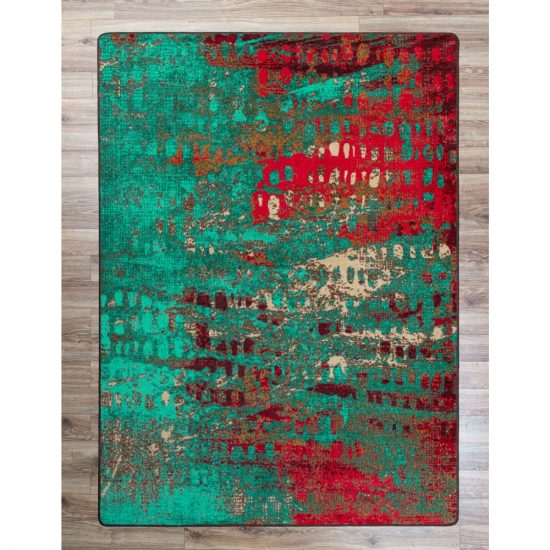 Turquoise and red abstract print area rug