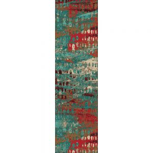 Abstract runner rug in turquoise and red