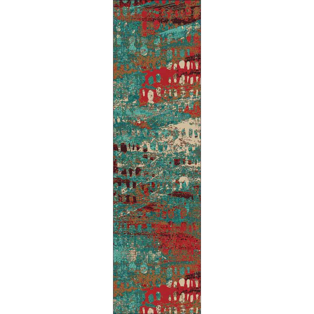 Turquoise Abstract Area Rug Rustic Log Originals