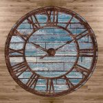 Blue and brown roman numerals clock print rug