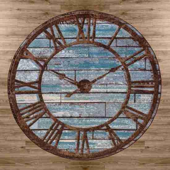 Blue and brown vintage wall clock print rug