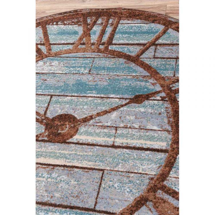 Area rug with a vintage clock print