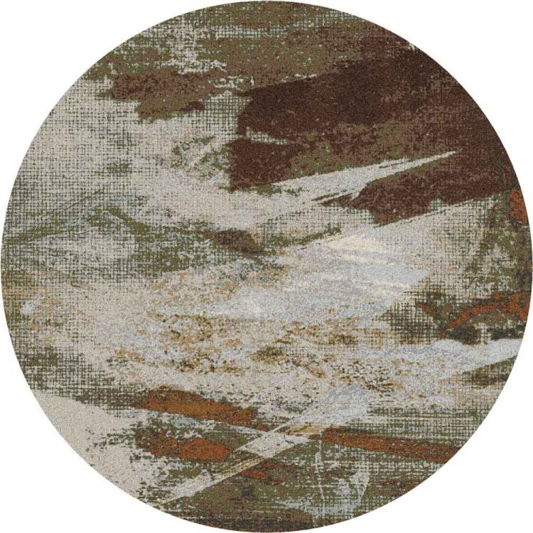 Neutral Abstract Print Nylon Round Rug