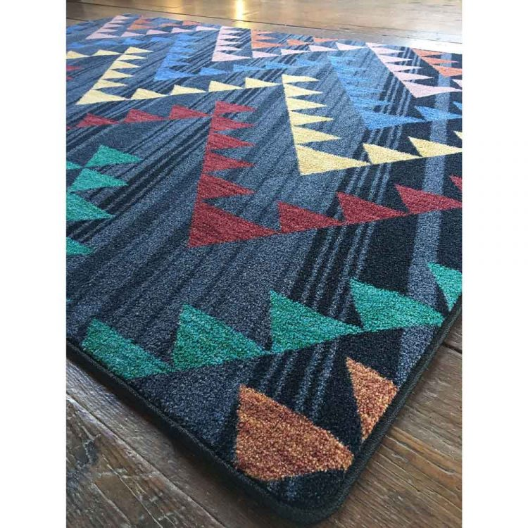 Close up corner shot of area rug showing print