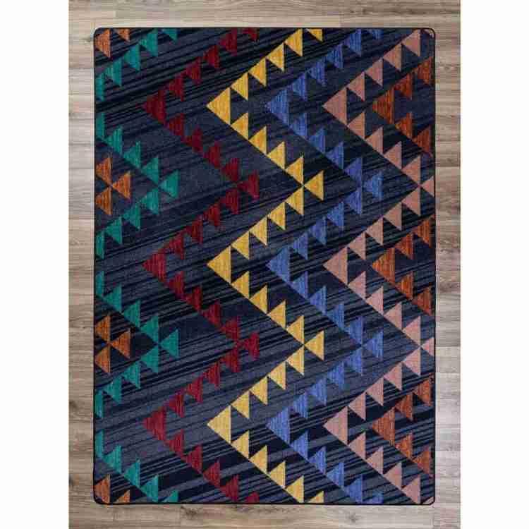Dark blue rug with alternating color zig zag pattern rug