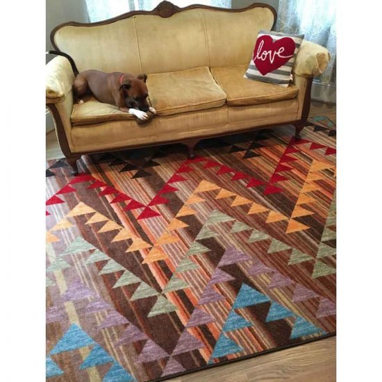 Multi Colored Zig Zag Print Area Rug under velvet yellow sofa