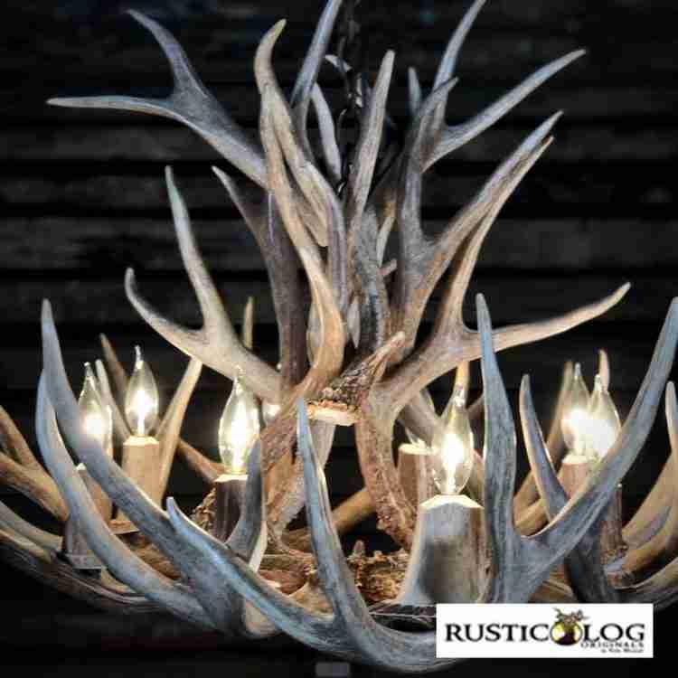 Chandelier crafted from mule deer antlers