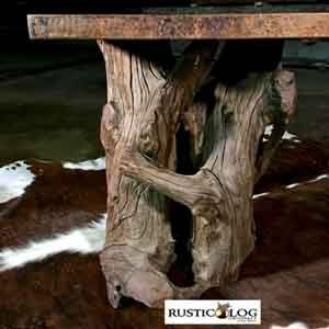 Driftwood and copper top square end table