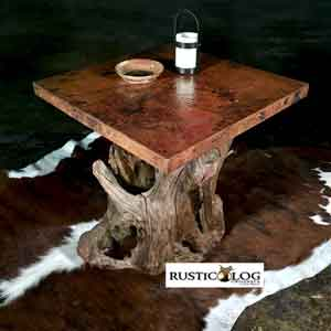 Rustic end table with hammered copper top and driftwood base