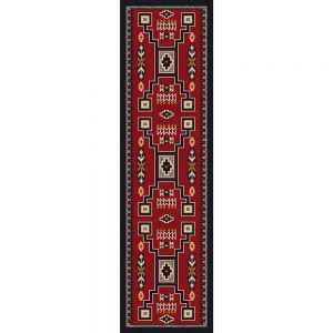 Runner Rug With Red Background And Black And Neutral Southwest Print