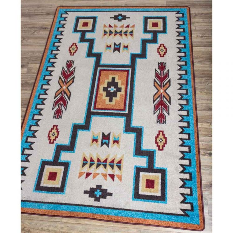 Southwest Print Area Rug In Rust And Turquoise