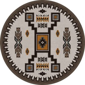 8ft round area rug in neutral with symmetrical Native American motifs