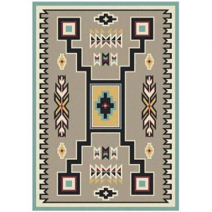 Southwestern area rug with geometric pattern in black and turquoise accent