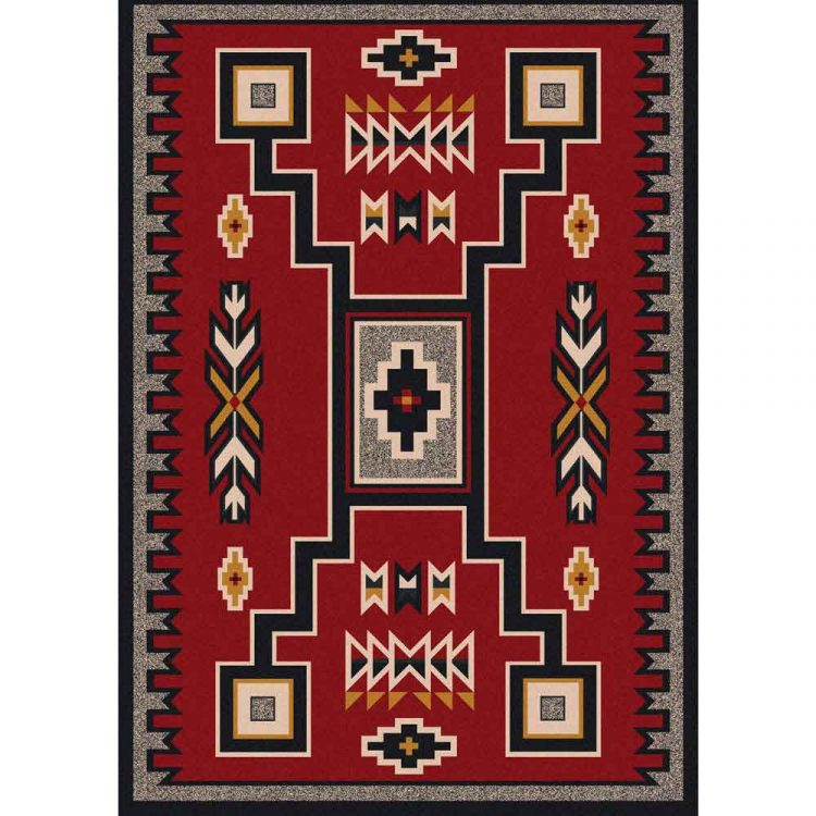 Southwestern area rug with motif in black on a red background