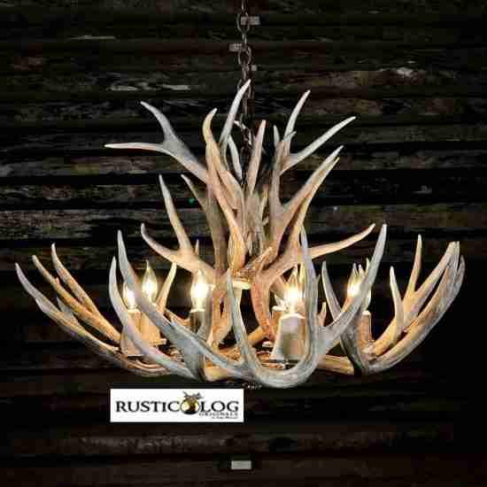 8 lights mule deer chandelier