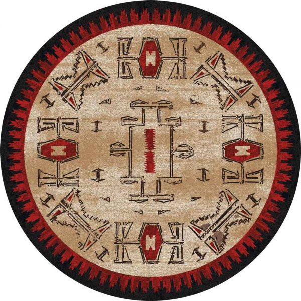 Round area rug with beige background and black and red Native American designs
