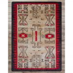 Tribal print rug in khaki, red, and black.