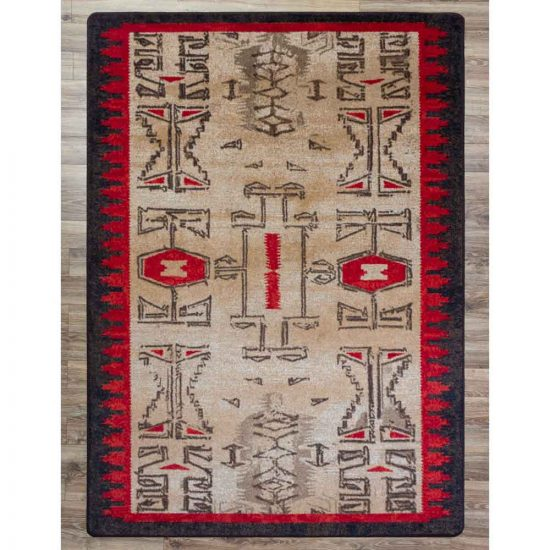 Tribal print rug in khaki, red, and black.