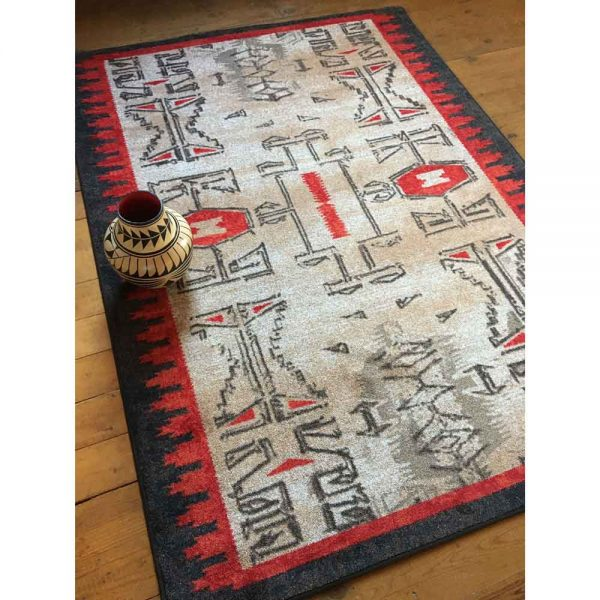 Native American rug with traditional pottery