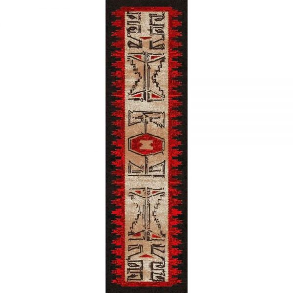 Tribal print runner rug in tan red, and black