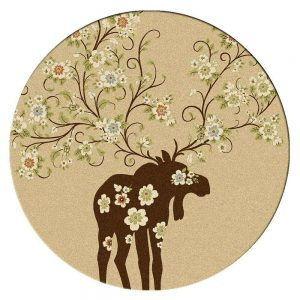Round area rug with a tan background and a moose with flowers print