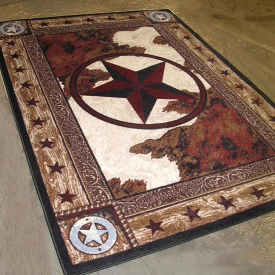 Area rug with a copper Texas Lone Staron a cowhide background