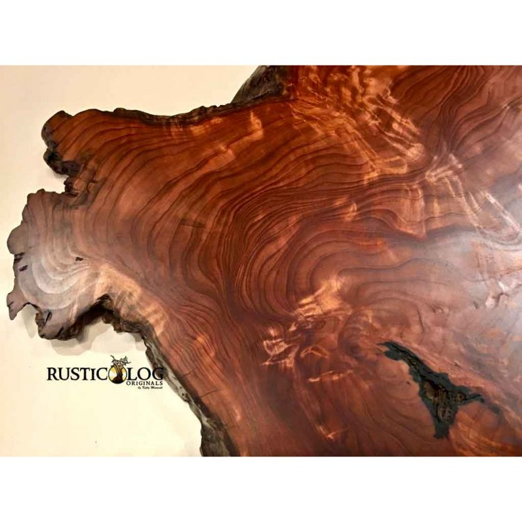 Close up of left side of a redwood slab wall hanging