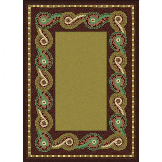 Area rug with green scrolls border and solid center