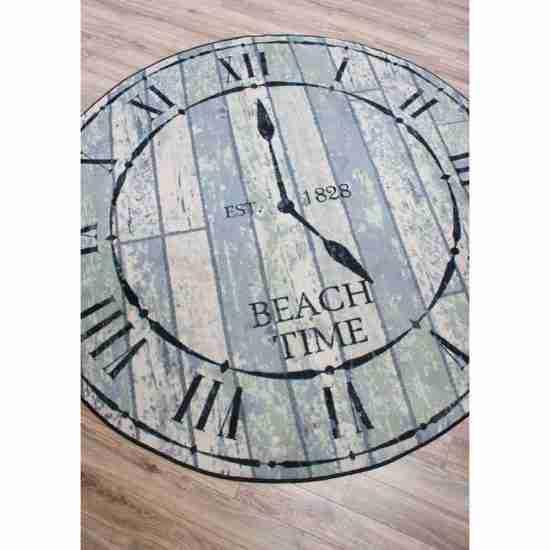 Novelty round rug with a vintage beach clock design