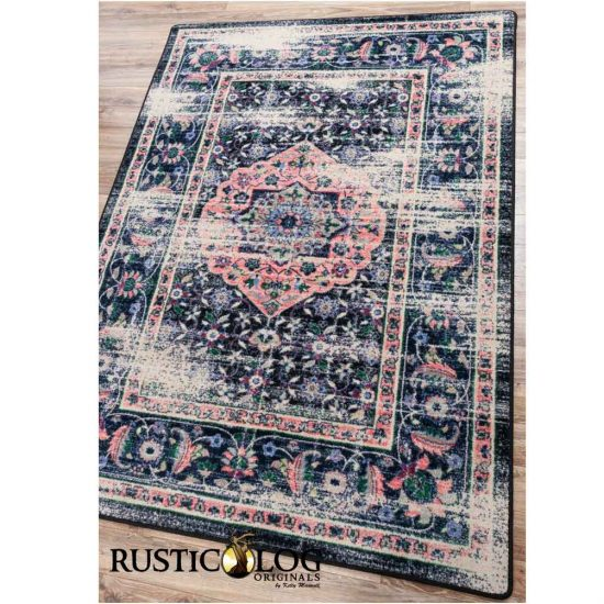 Navy and pink distressed Persian rug