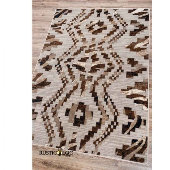 Tan and brown area rug with Southwestern design