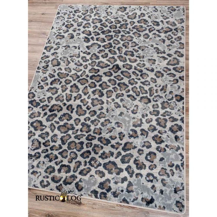 Area rug with a distressed leopard print