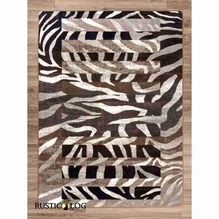 Zebra print area rug on hardwood floor